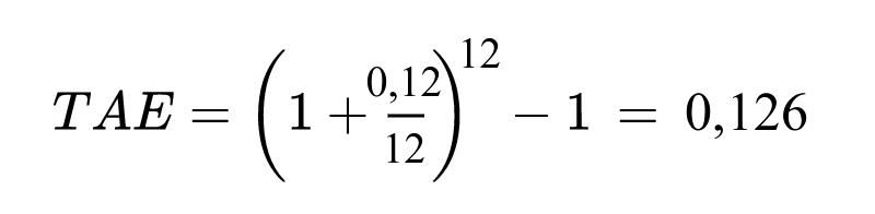 tae ejemplo formula